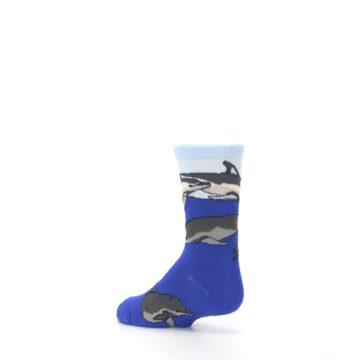 Image of Blue Gray Playful Dolphins Kid's Dress Socks (side-2-back-14)