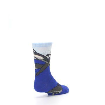Image of Blue Gray Playful Dolphins Kid's Dress Socks (side-1-back-21)