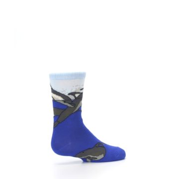 Image of Blue Gray Playful Dolphins Kid's Dress Socks (side-1-23)