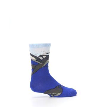 Image of Blue Gray Playful Dolphins Kid's Dress Socks (side-1-24)