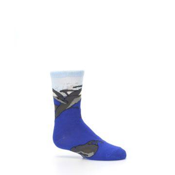 Image of Blue Gray Playful Dolphins Kid's Dress Socks (side-1-25)