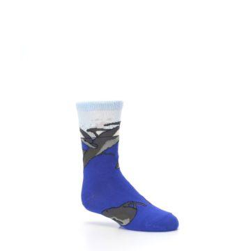 Image of Blue Gray Playful Dolphins Kid's Dress Socks (side-1-26)