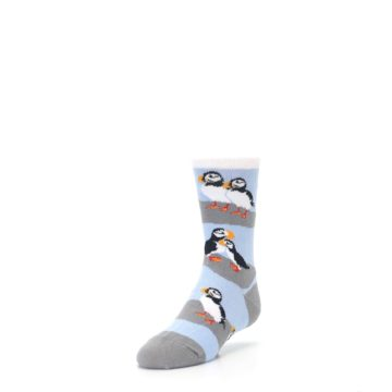 Image of Blue Gray Puffin Birds Kid's Dress Socks (side-2-front-07)