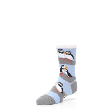 Image of Blue Gray Puffin Birds Kid's Dress Socks (side-2-front-08)