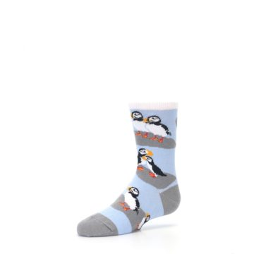 Image of Blue Gray Puffin Birds Kid's Dress Socks (side-2-09)