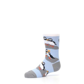 Image of Blue Gray Puffin Birds Kid's Dress Socks (side-2-10)
