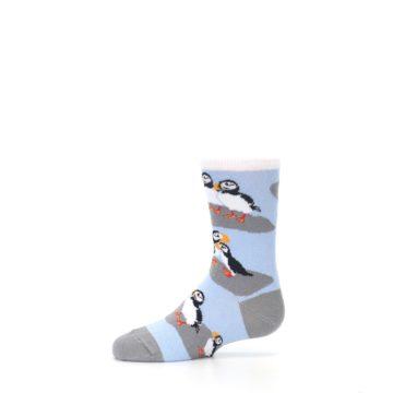 Image of Blue Gray Puffin Birds Kid's Dress Socks (side-2-11)