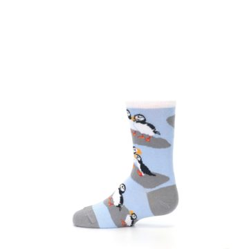 Image of Blue Gray Puffin Birds Kid's Dress Socks (side-2-12)