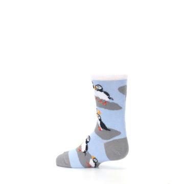 Image of Blue Gray Puffin Birds Kid's Dress Socks (side-2-13)