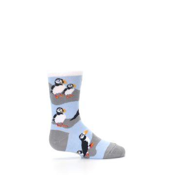 Image of Blue Gray Puffin Birds Kid's Dress Socks (side-1-24)