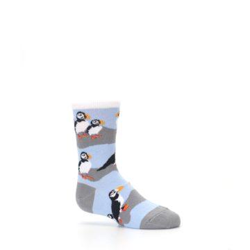 Image of Blue Gray Puffin Birds Kid's Dress Socks (side-1-25)