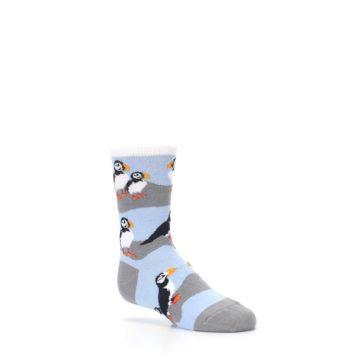 Image of Blue Gray Puffin Birds Kid's Dress Socks (side-1-26)