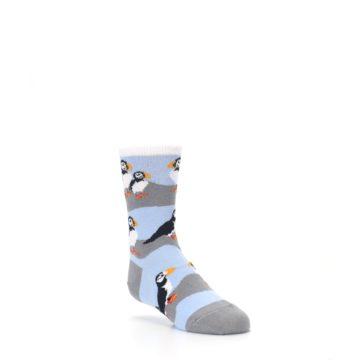 Image of Blue Gray Puffin Birds Kid's Dress Socks (side-1-27)