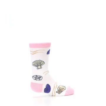 Image of White Pink Seashells Kid's Dress Socks (side-1-23)