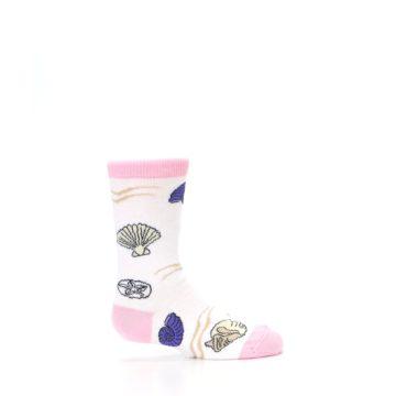 Image of White Pink Seashells Kid's Dress Socks (side-1-24)