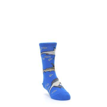 Image of Blue Gray Shark Mix Kid's Dress Socks (side-1-front-02)