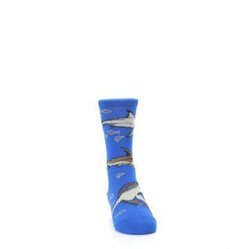 Image of Blue Gray Shark Mix Kid's Dress Socks (side-1-front-03)