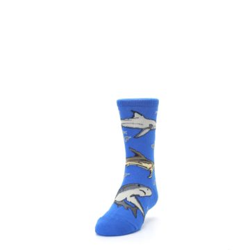 Image of Blue Gray Shark Mix Kid's Dress Socks (side-2-front-06)