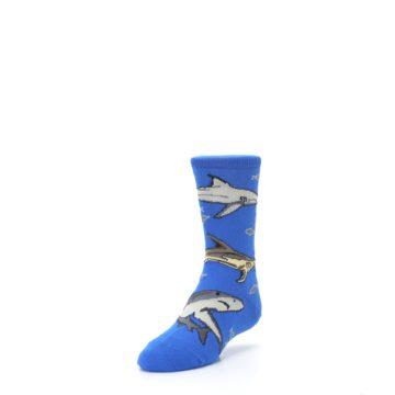 Image of Blue Gray Shark Mix Kid's Dress Socks (side-2-front-07)