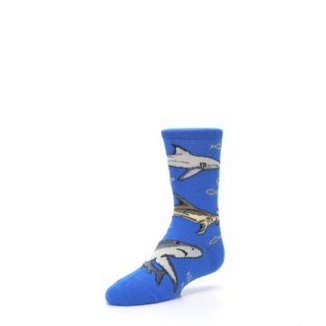Image of Blue Gray Shark Mix Kid's Dress Socks (side-2-front-08)