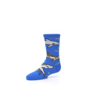 Image of Blue Gray Shark Mix Kid's Dress Socks (side-2-09)