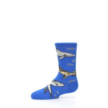 Image of Blue Gray Shark Mix Kid's Dress Socks (side-2-11)