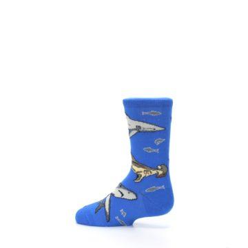 Image of Blue Gray Shark Mix Kid's Dress Socks (side-2-13)