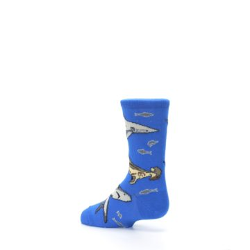 Image of Blue Gray Shark Mix Kid's Dress Socks (side-2-back-14)