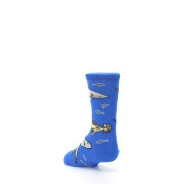 Image of Blue Gray Shark Mix Kid's Dress Socks (side-2-back-15)