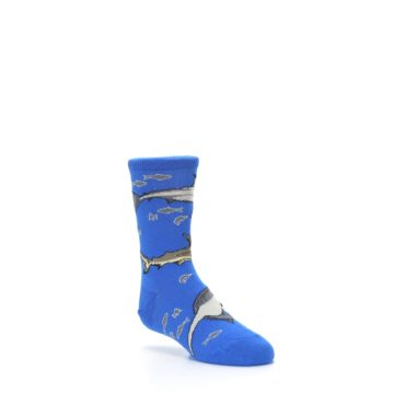 Image of Blue Gray Shark Mix Kid's Dress Socks (side-1-27)
