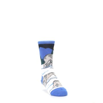 Image of Blue Gray Howling Wolf Kid's Dress Socks (side-1-front-02)