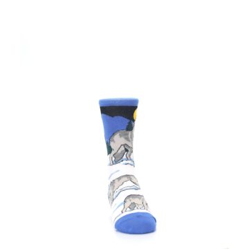Image of Blue Gray Howling Wolf Kid's Dress Socks (side-1-front-03)