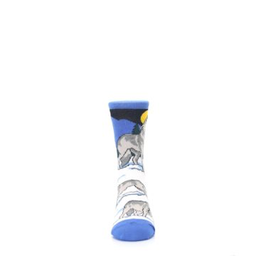 Image of Blue Gray Howling Wolf Kid's Dress Socks (front-04)