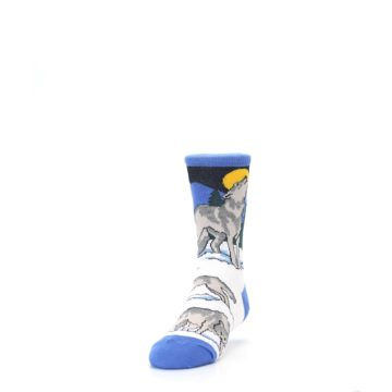 Image of Blue Gray Howling Wolf Kid's Dress Socks (side-2-front-06)