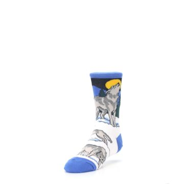 Image of Blue Gray Howling Wolf Kid's Dress Socks (side-2-front-07)