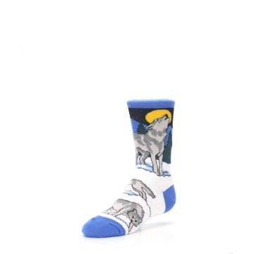 Image of Blue Gray Howling Wolf Kid's Dress Socks (side-2-front-08)