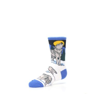Image of Blue Gray Howling Wolf Kid's Dress Socks (side-2-09)