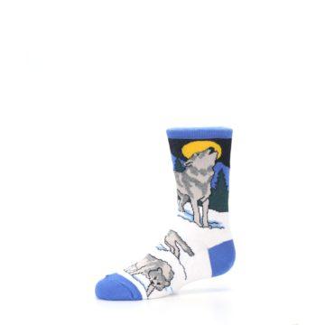 Image of Blue Gray Howling Wolf Kid's Dress Socks (side-2-10)
