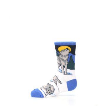 Image of Blue Gray Howling Wolf Kid's Dress Socks (side-2-11)