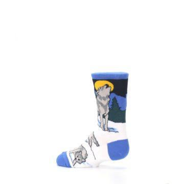 Image of Blue Gray Howling Wolf Kid's Dress Socks (side-2-13)