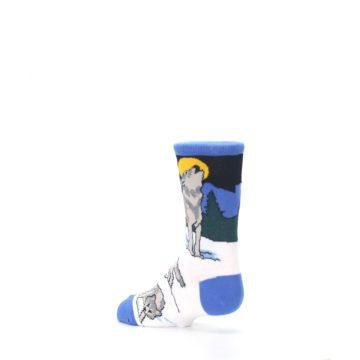 Image of Blue Gray Howling Wolf Kid's Dress Socks (side-2-back-14)