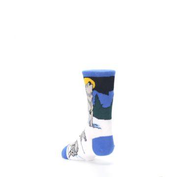 Image of Blue Gray Howling Wolf Kid's Dress Socks (side-2-back-15)