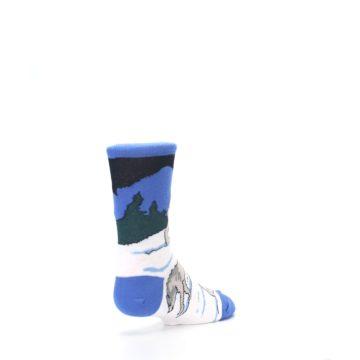 Image of Blue Gray Howling Wolf Kid's Dress Socks (side-1-back-21)