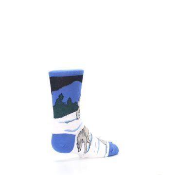 Image of Blue Gray Howling Wolf Kid's Dress Socks (side-1-back-22)