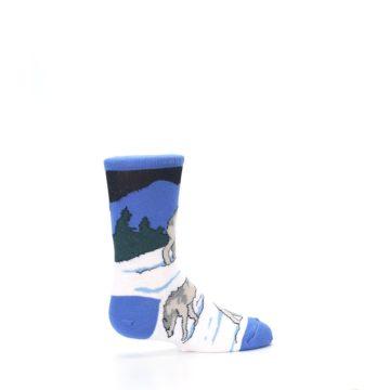 Image of Blue Gray Howling Wolf Kid's Dress Socks (side-1-23)