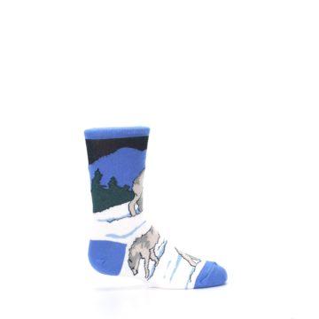 Image of Blue Gray Howling Wolf Kid's Dress Socks (side-1-24)