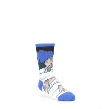 Image of Blue Gray Howling Wolf Kid's Dress Socks (side-1-27)
