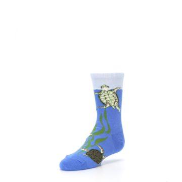 Image of Blue Turtles in Sea Kelp Kid's Dress Socks (side-2-front-08)