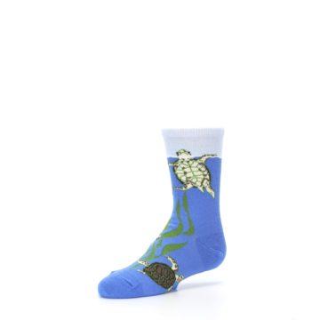 Image of Blue Turtles in Sea Kelp Kid's Dress Socks (side-2-09)