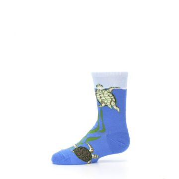 Image of Blue Turtles in Sea Kelp Kid's Dress Socks (side-2-11)